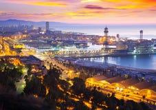Puerto Vell en Barcelona en amanecer fotos de archivo libres de regalías