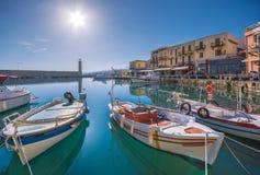 Puerto veneciano viejo de Rethimno, Creta fotografía de archivo