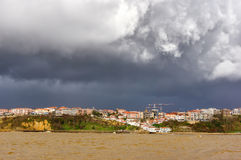 Puerto Viejo of Algorta with stormy clouds Stock Photo