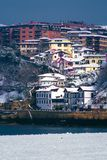 Puerto Viejo di Algorta a Getxo all'inverno Immagini Stock Libere da Diritti