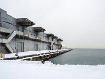 Puerto Warehouse en nieve Fotografía de archivo libre de regalías