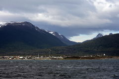 Puerto Williams is a small Chilean town and port on the island of Navarino  to the shore of the Strait of the Beagle channel. Stock Images