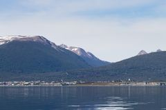 Puerto Williams, southernmost city in the world, Chile. Southernmost city in the world. Puerto Williams cityscape from Beagle channel. Chile landmark, fire royalty free stock images