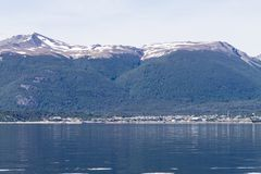 Puerto Williams, southernmost city in the world, Chile. Southernmost city in the world. Puerto Williams cityscape from Beagle channel. Chile landmark stock image