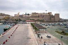 Puerto y castillo en Melilla Foto de archivo libre de regalías