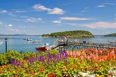 Puerto y embarcadero costeros de Maine Imagenes de archivo