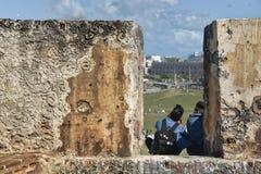 Puertoricanska studenter i gamla San Juan Fotografering för Bildbyråer