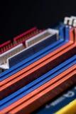 Puertos coloridos de la placa madre del ordenador Imagenes de archivo