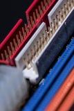 Puertos coloridos de la placa madre del ordenador Imágenes de archivo libres de regalías