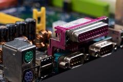 Puertos coloridos de la placa madre del ordenador Foto de archivo libre de regalías