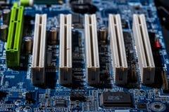 Puertos de la placa madre del ordenador Imagen de archivo