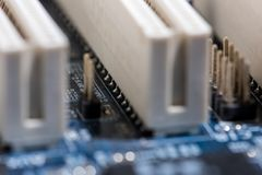 Puertos de la placa madre del ordenador Imágenes de archivo libres de regalías