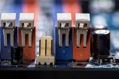 Puertos de la placa madre del ordenador Foto de archivo