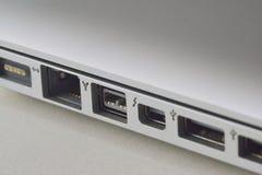 Puertos del ordenador portátil Imagen de archivo