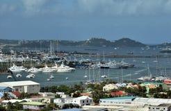 Puertos deportivos del barco en el santo Maarten Imagen de archivo libre de regalías