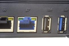 Puertos inalámbricos del router Fotos de archivo libres de regalías