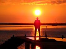 Puesta del sol 05 del puerto de Faro Fotos de archivo