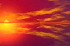 puesta del sol 3D Imagen de archivo libre de regalías
