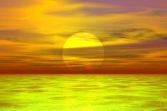 puesta del sol 3D Fotografía de archivo libre de regalías