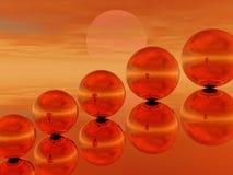 puesta del sol 3d ilustración del vector