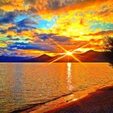 Puesta del sol Imágenes de archivo libres de regalías