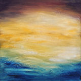 Puesta del sol abstracta del agua. Pintura al óleo en lona. Imagenes de archivo