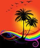 Puesta del sol abstracta en la playa Foto de archivo libre de regalías