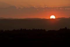 Puesta del sol acodada imagen de archivo libre de regalías
