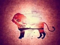 Puesta del sol africana con Lion Grunge Fotografía de archivo