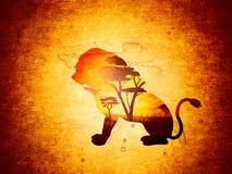 Puesta del sol africana con Lion Grunge Fotografía de archivo libre de regalías