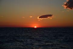 Puesta del sol albanesa Foto de archivo