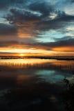 Puesta del sol Albarella en Italia Foto de archivo libre de regalías