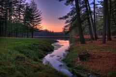 Puesta del sol alejada del lago forest Imágenes de archivo libres de regalías