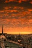 Puesta del sol Alemania del horizonte de Gera foto de archivo