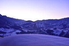 Puesta del sol alpina ligera Fotografía de archivo