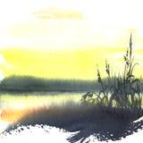 Puesta del sol amarilla en el río foto de archivo libre de regalías