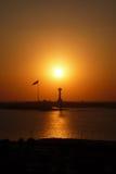Puesta del sol amarilla y negra imponente foto de archivo libre de regalías