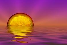 Puesta del sol anaranjada Fotografía de archivo libre de regalías