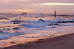 Puesta del sol anaranjada del mar Fotografía de archivo libre de regalías