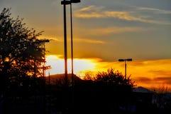 Puesta del sol anaranjada del verano Fotografía de archivo libre de regalías