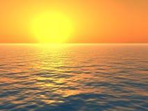 Puesta del sol anaranjada sobre el mar ilustración del vector