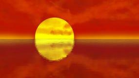Puesta del sol anaranjada sobre ondulaciones tranquilas del agua ilustración del vector