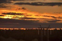 Puesta del sol anaranjada viva Imagen de archivo libre de regalías