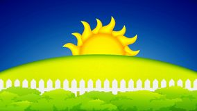 Puesta del sol, animación del concepto de la salida del sol almacen de metraje de vídeo