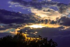 Puesta del sol ardiente Imagen de archivo libre de regalías