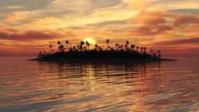 Puesta del sol ardiente de la isla tropical ilustración del vector