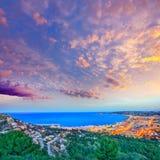 Puesta del sol aérea del horizonte de Javea Xabia en Alicante Fotos de archivo libres de regalías