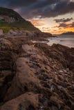 Puesta del sol asombrosa del paisaje marino Foto de archivo