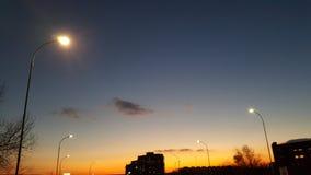 Puesta del sol asombrosa en Varna Bulgaria Imagen de archivo