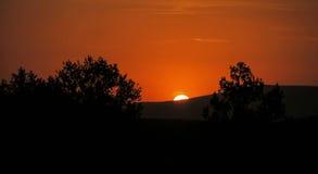 Puesta del sol asombrosa sobre los árboles y la tonalidad anaranjada rica de las montañas Foto de archivo